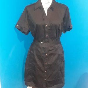 Apt. 9 Black V neck Collar Short Sleeve  Dress